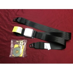 Seat belt, lap, black with chrome buckle, aftermarket
