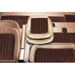 * Interior upholstery kit. saddle vinyl / brown velour inserts.