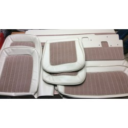 * Interior upholstery kit. parchment vinyl / tan velour inserts.