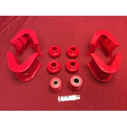 Radius arm / track bar bushing kit, 2 degree, 1966-1975, Red polyurethane