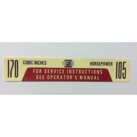 Air Cleaner Decal 170ci 105hp 1966 and 1967