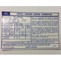 Vehicle Emission Control Decal 1976 and 1977 Auto