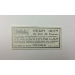 Oil Bath Air Cleaner Decal 1966 and 1967